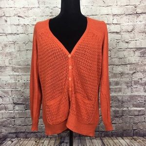 Anthropologie Sparrow orange cardigan